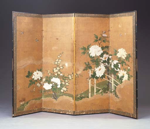 A JAPANESE FOUR-PANEL SCREEN OF PEONIES ON A TRELLIS,