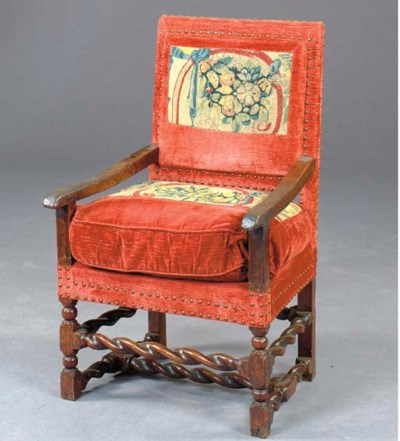 A CONTINENTAL OAK AND TAPESTRY