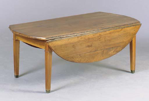 A GEORGE II STYLE WALNUT DROP LEAF LOW TABLE,