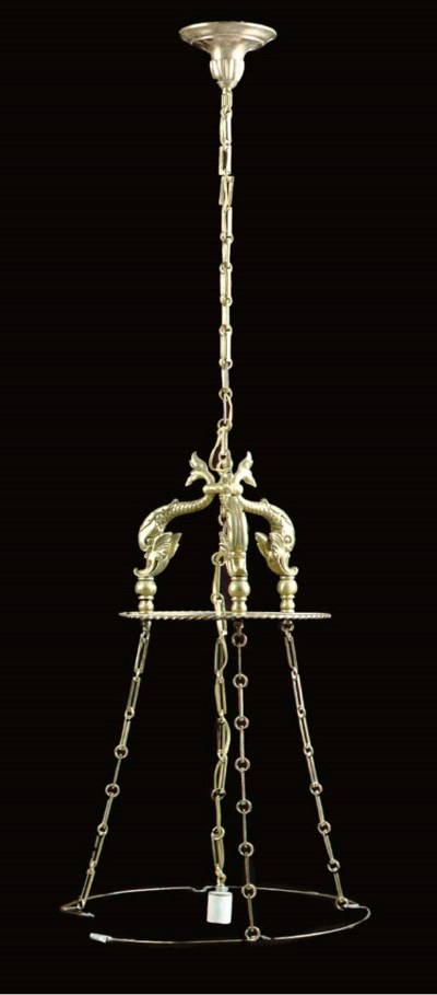 A DOLPHIN DECORATED BRASS HANG