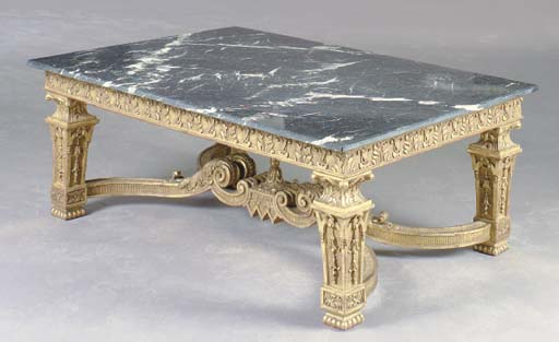 A NEOCLASSICAL STYLE GILTWOOD AND MARBLE TOPPED LOW TABLE,