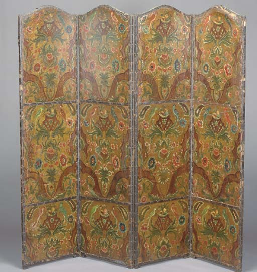 A CONTINENTAL PAINTED LEATHER FOUR PANEL FLOOR SCREEN,