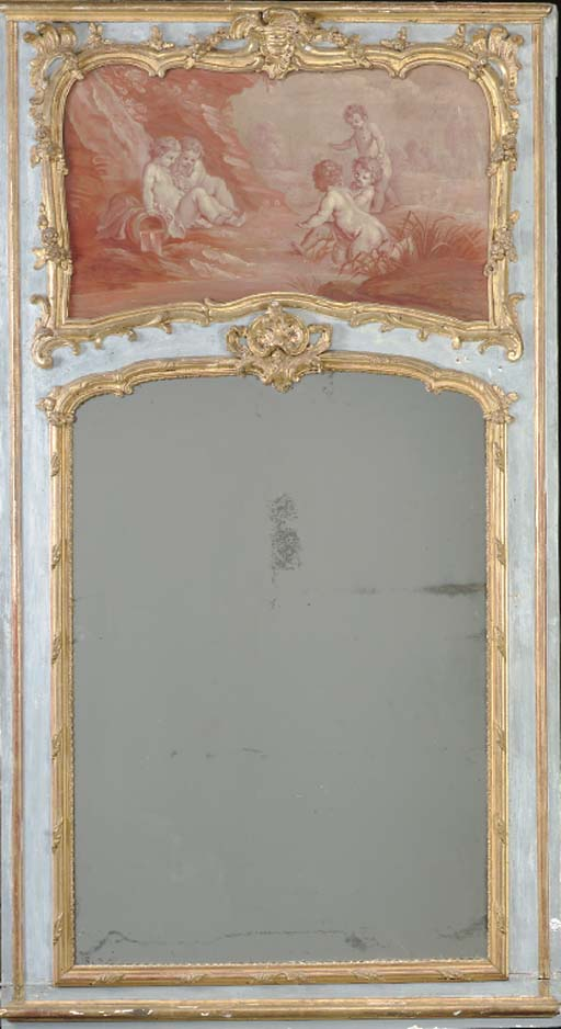 A LOUIS XV STYLE POLYCHROME PAINTED AND PARCEL GILT TRUMEAU MIRROR,
