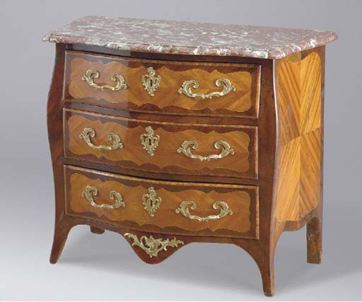 A LOUIS XV KINGWOOD AND AMARANTH AND GILT-BRONZE MOUNTED MARBLE TOPPED COMMODE,
