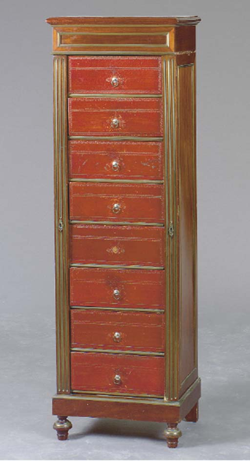 A LOUIS XVI STYLE MAHOGANY AND RED LEATHER SEMANIER,
