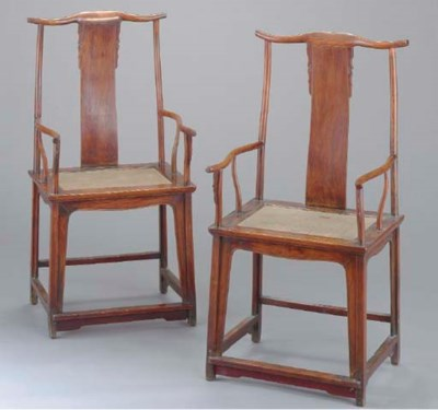 A PAIR OF CHINESE CARVED ELM Y