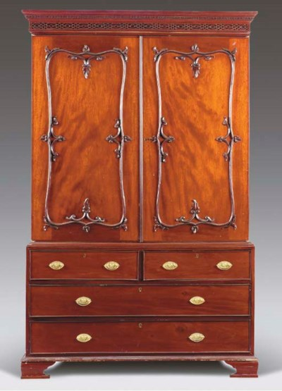 A GEORGE III STYLE LINEN PRESS