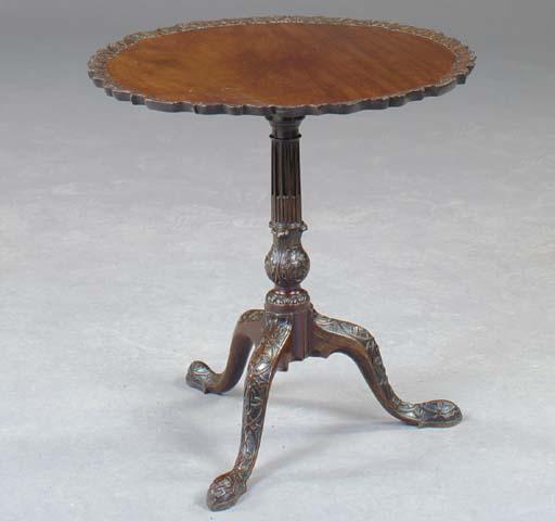 A GEORGE III STYLE MAHOGANY TILT-TOP TRIPOD TABLE,