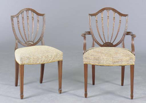A SET OF EIGHT GEORGE III STYLE MAHOGANY DINING CHAIRS,