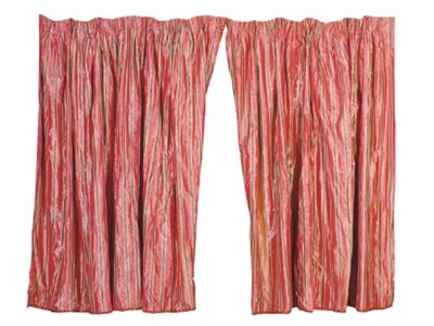 A PAIR OF ROSE STRIPED SILK CU