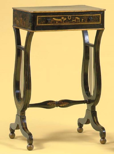 A REGENCY PENWORK SEWING-TABLE