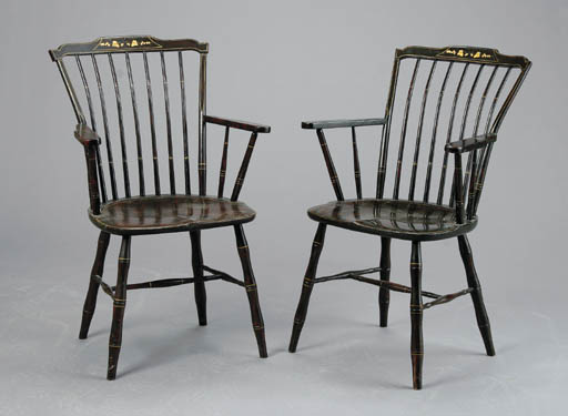 A SET OF FOUR AMERICAN GRAINED WINDSOR ARMCHAIRS,