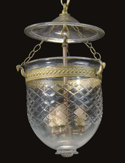 AN ETCHED-GLASS HALL LANTERN,