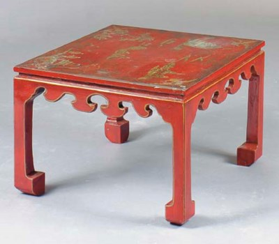 A CHINOISERIE RED LACQUER AND