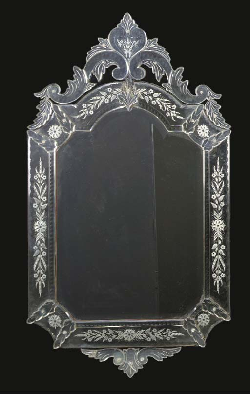 A VENETIAN ETCHED GLASS WALL MIRROR,