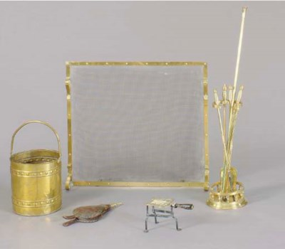 A GROUP OF BRASS FIRETOOLS AND