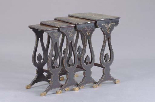 A NEST OF CHINESE EXPORT BLACK AND GILT LACQUER QUARTETTO TABLES,