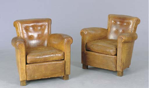 A PAIR OF BROWN LEATHER CLUB C