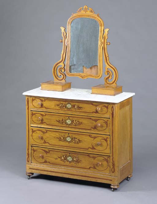 AN AMERICAN GRAIN-PAINTED AND STENCIL DECORATED MARBLE-TOPPED DRESSER WITH MIRROR,