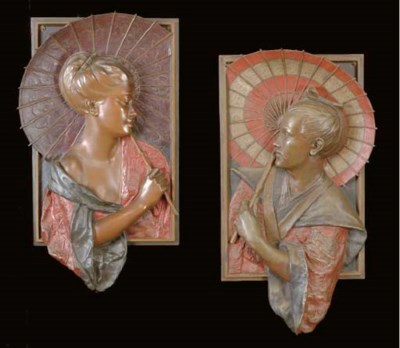A PAIR OF BRONZE POLYCHROME-DE