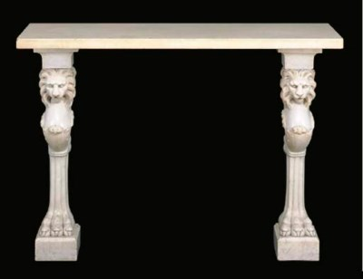 A CARVED WHITE MARBLE CONSOLE