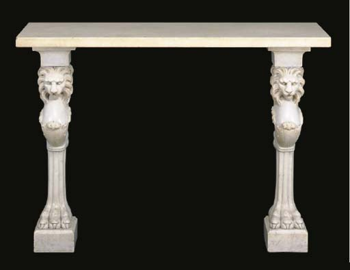 A CARVED WHITE MARBLE CONSOLE TABLE,