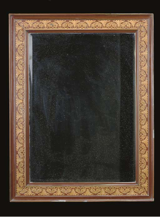 AN ARTS AND CRAFTS FAUX MARQUETRY PAINT-DECORATED MIRROR,