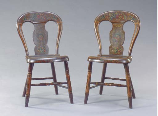 A SET OF SIX POLYCHROME PAINTED AND PARCEL-GILT FANCY CHAIRS,