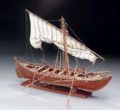 A rigged model of a whaleboat