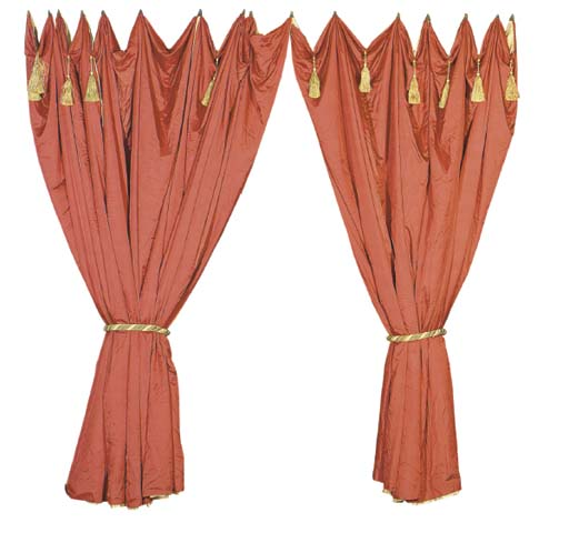 A PAIR OF RED AND GOLD SILK SH