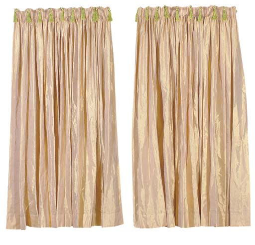A PAIR OF GOLD SATIN TRIMMED D