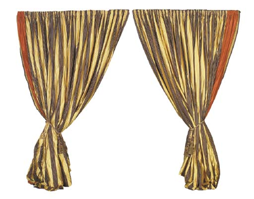 A PAIR OF BLACK AND GOLD SILK DRAPES WITH TIEBACKS,