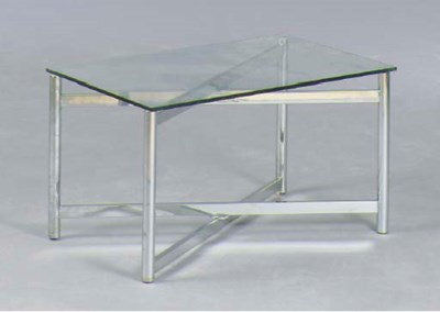 A CONTEMPORARY CHROME AND GLAS