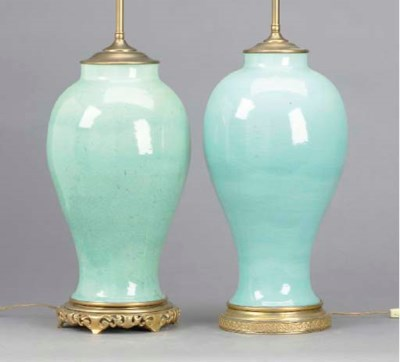 TWO CHINESE CELADON CRACKLE GL
