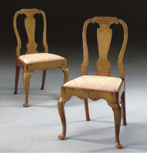 A PAIR OF GEORGE II WALNUT AND ASH SIDE CHAIRS,