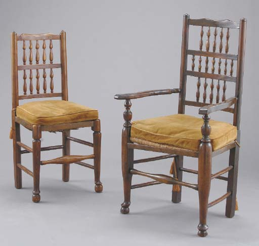 A SET OF EIGHT ENGLISH OAK AND