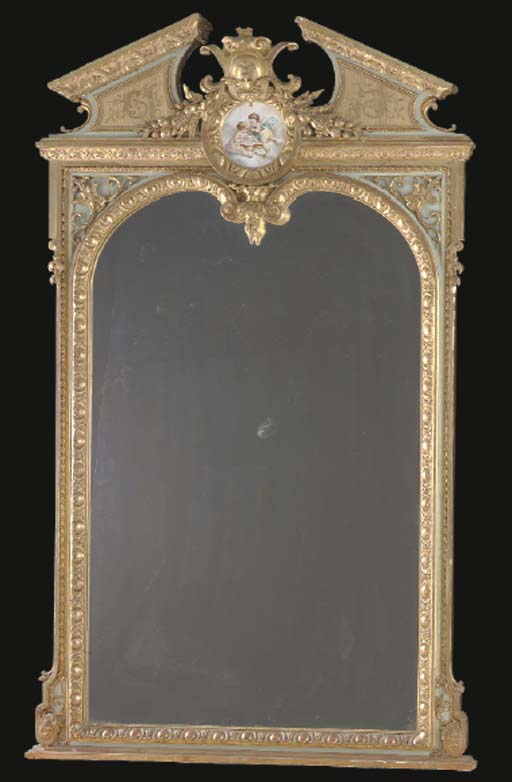 A LOUIS XV STYLE GREEN-PAINT DECORATED PORCELAIN MOUNTED GILTWOOD TRUMEAU MIRROR,