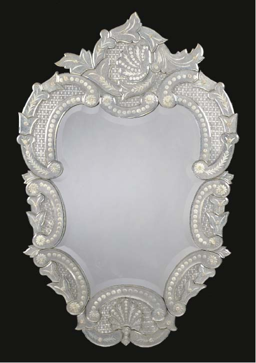 A VENETIAN ETCHED GLASS MIRROR,