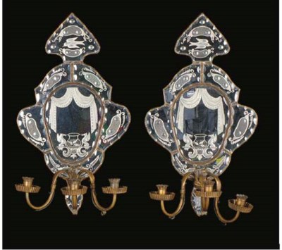 A PAIR OF VENETIAN STYLE CUT G