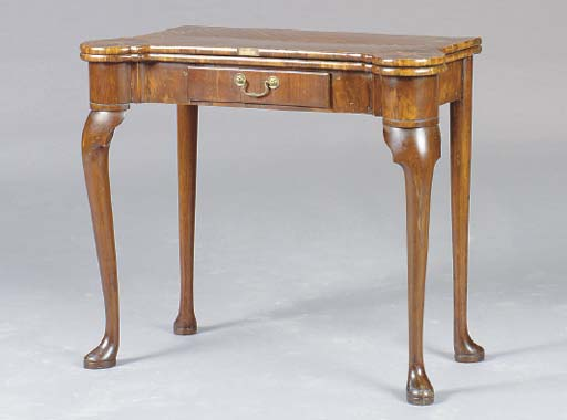 A GEORGE II WALNUT, ROSEWOOD AND SATINWOOD INLAID GAMES TABLE,