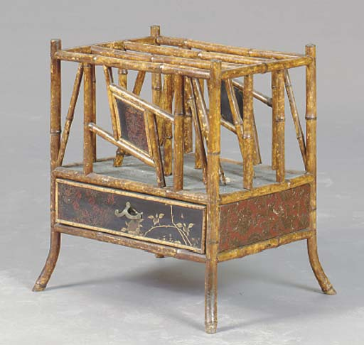 A VICTORIAN BAMBOO AND LACQUER CANTERBURY,