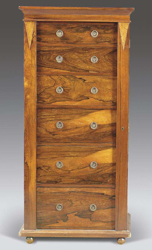 A VICTORIAN ROSEWOOD WELLINGTON CHEST,