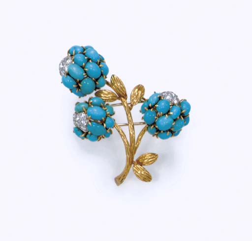 A TURQUOISE AND DIAMOND BROOCH, BY VAN CLEEF & ARPELS