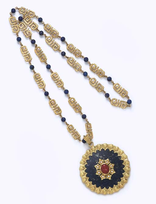 **A LAPIS LAZULI, CORAL AND DIAMOND PENDANT NECKLACE, BY VAN CLEEF & ARPELS