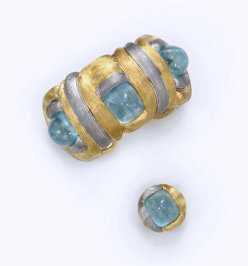 A SET OF AQUAMARINE AND GOLD JEWELRY, BY HENRY DUNAY
