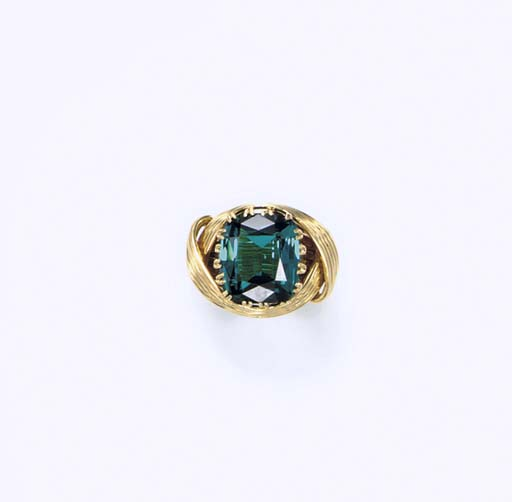 A BLUE TOURMALINE AND GOLD RING, BY JEAN SCHLUMBERGER, TIFFANY & CO.