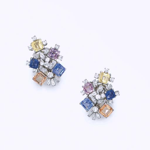 A PAIR OF MULTI-COLORED SAPPHIRE AND DIAMOND EAR CLIPS, BY OSCAR HEYMAN & BROTHERS