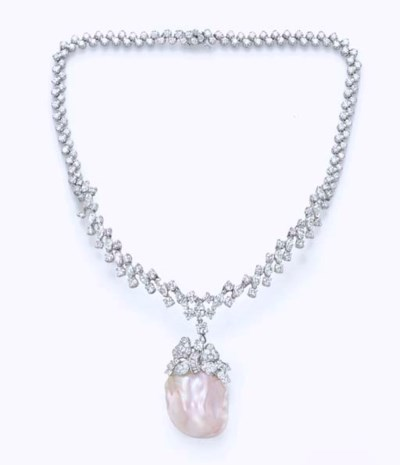 A FRESHWATER PEARL AND DIAMOND