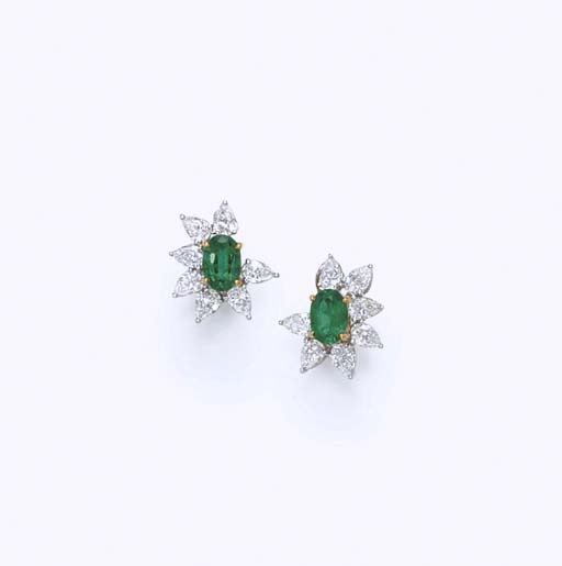 A PAIR OF EMERALD AND DIAMOND EAR CLIPS, BY TIFFANY & CO.