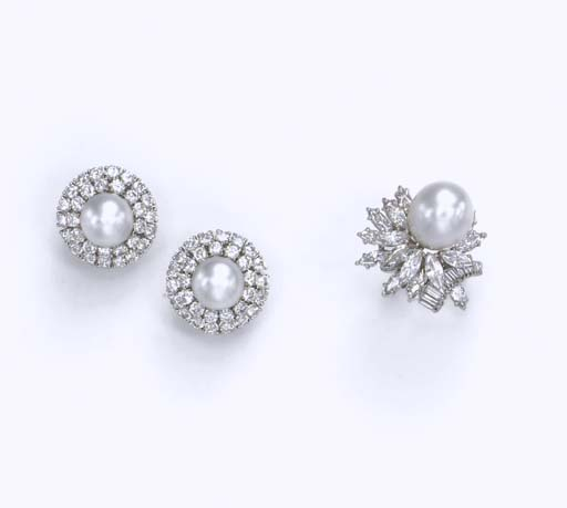 A SET OF CULTURED PEARL AND DIAMOND JEWELRY